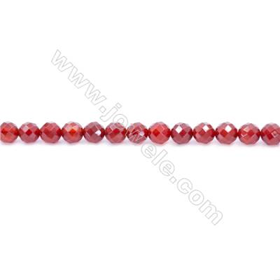 Natural Red Agate Beads Strand  Faceted Round Diameter 8mm  Hole: 1mm  about 48 beads/strand  15~16''