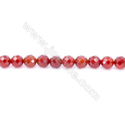 Natural Red Agate Beads Strand  Faceted Round Diameter 10mm  Hole: 1.5mm  about 38 beads/strand  15~16''