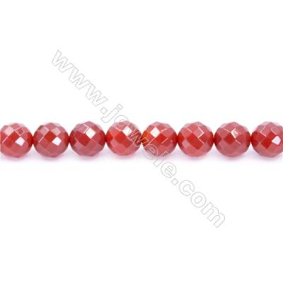 Natural Red Agate Beads Strand Faceted Round  Diameter 12mm  Hole: 1.5mm  about 33 beads/strand 15~16''