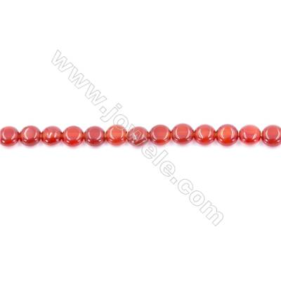Natural Red Agate Beads Strand  Flat Round  Diameter 6mm  Hole: 0.8mm  about 68 beads/strand 15~16''