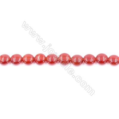 Natural Red Agate Beads Strand  Flat Round  Diameter 8mm  Hole: 0.8mm  about 50 beads/strand  15~16''