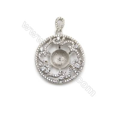 925 Sterling silver platinum plated zircon pendant, 24mm, x 5pcs, Tray 10mm