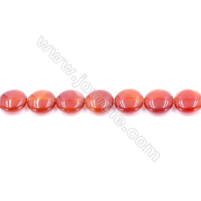 Natural Red Agate Beads Strand  Flat Round  Diameter 14mm  Hole: 1mm  about 29 beads/strand  15~16''