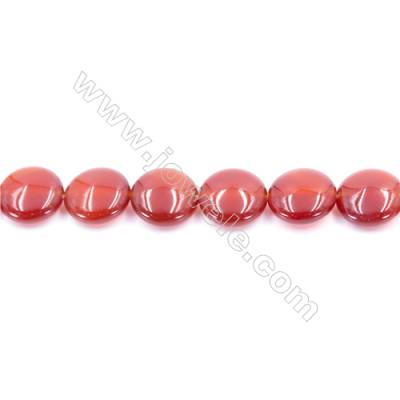 Natural Red Agate Beads Strand  Flat Round  Diameter 16mm  Hole: 1.5mm  about 25 beads/strand  15~16''