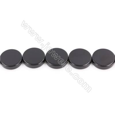 Natural Black Agate Beads Strand  Flat Round  Diameter 20mm  Hole: 2mm  about 20 beads/strand  15~16''