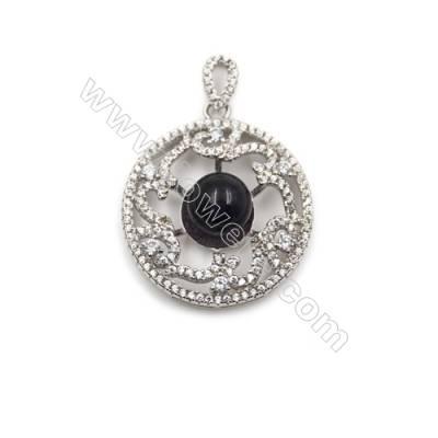 925 Sterling silver platinum platedzircon pendant -D5674 24mm x 5 discs 10mm in diameter