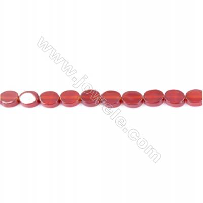 Natural Red Agate Beads Strand  Flat Oval  Size 8x10mm  Hole: 1mm  about 44 beads/strand  15~16''