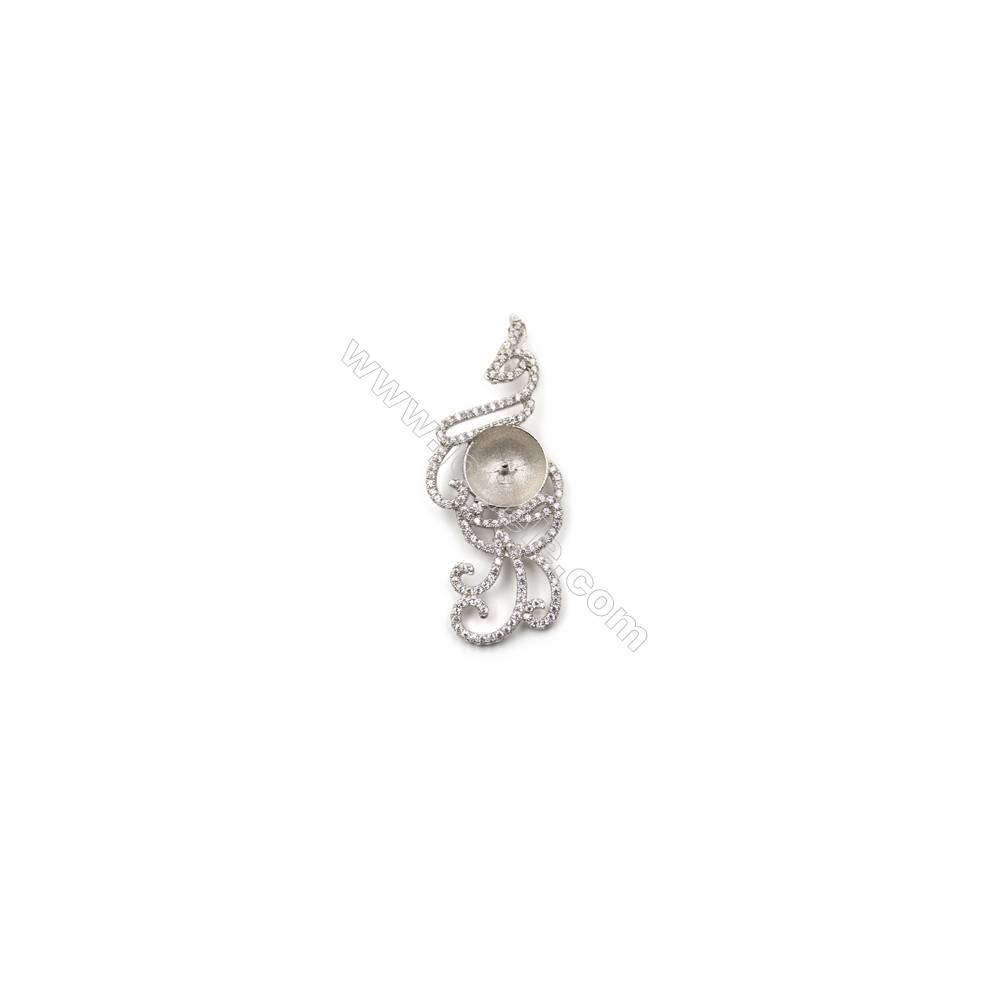 Sterling silver platinum plated zircon pendant, 20x48mm, x 5mm, Tray 13mm