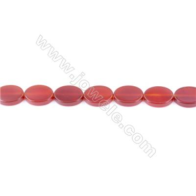Natural Red Agate Beads Strand  Flat Oval  Size 10x14mm  Hole: 1mm  about 29 beads/strand  15~16''