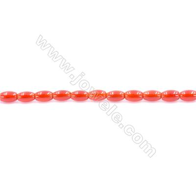 Natural Red Agate Beads Strand  Rice  Size 4x6mm  Hole: 1mm  about 60 beads/strand  15~16''
