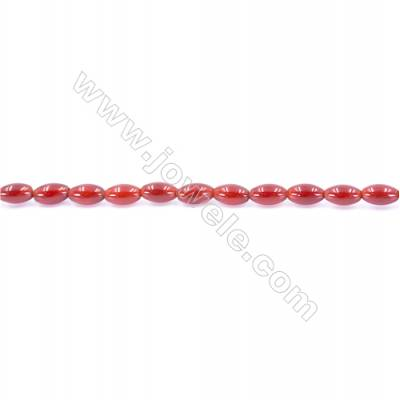 Natural Red Agate Beads Strand  Rice  Size 5x8mm  Hole: 1mm  about 49 beads/strand  15~16''