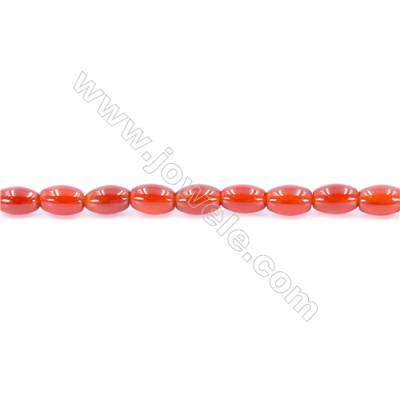Natural Red Agate Beads Strand  Rice  Size 6x10mm  Hole: 1.5mm  about 43 beads/strand  15~16''