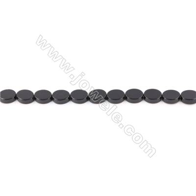 Natural Black Agate Beads Strand  Flat Oval  Size 7x9mm  Hole: 1mm  about 45 beads/strand  15~16''