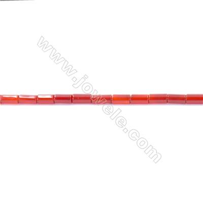 Natural Red Agate Beads Strand  Column  Size 4x8mm  Hole: 1mm  about 50 beads/strand  15~16''