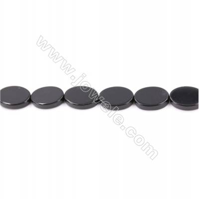 Natural Black Agate Beads Strand  Flat Oval  Size 13x18mm  Hole: 1mm  about 22 beads/strand  15~16''