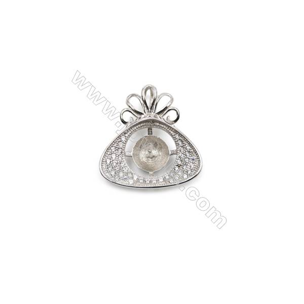 Wholesale sterling silver zircon pendant platinum plated, 20x20 mm, x 5pcs, Tray 8 mm, Pin 0.7 mm