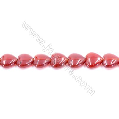 Natural Red Agate Beads Strand  Heart  Size 14x14mm  Hole: 1mm  about 30 beads/strand  15~16""
