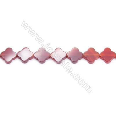 Natural Red Agate Beads Strand  Clover  Size 14x14mm  Hole: 1mm  about 28 beads/strand  15~16''