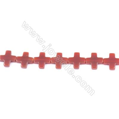 Natural Red Agate Beads Strand  Cross  Size 12x12mm  Hole: 1mm  about 33 beads/strand  15~16''