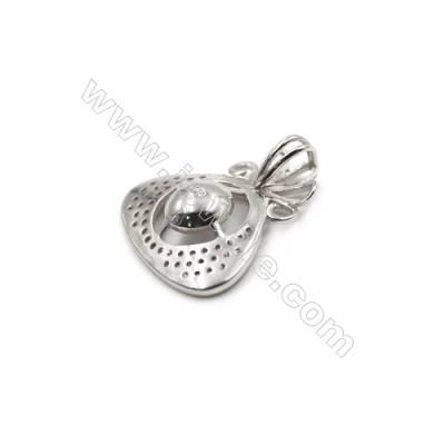 Wholesale sterling silver zircon pendant platinum plated-D5842 20x20 mm x 5 disc diameter 8 mm Small pin diameter 0.7 mm