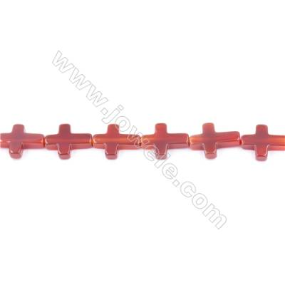 Natural Red Agate Beads Strand  Cross  Size 12x16mm  Hole: 1mm  about 25 beads/strand  15~16''