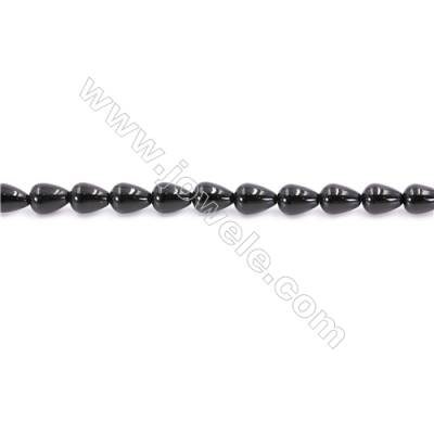 Natural Black Agate Beads Strand  Teardrop  Size 8x10mm  Hole: 1mm  about 39 beads/strand  15~16''