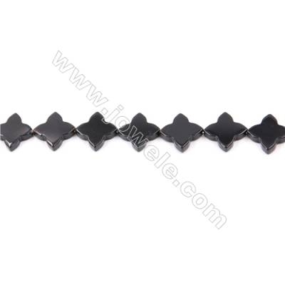 Natural Black Agate Beads Strand  Clover  Size 14x14mm  Hole: 1mm  about 28 beads/strand  15~16''