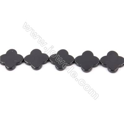 Natural Black Agate Beads Strand  Clover  Size 20x20mm  Hole: 1mm  about 20 beads/strand  15~16''