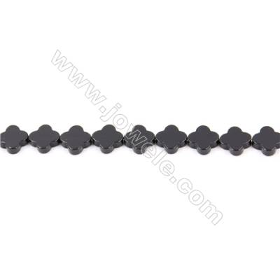 Natural Black Agate Beads Strand  Clover  Size 10x10mm  Hole: 1mm  about 40 beads/strand  15~16''