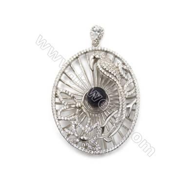 Sterling silver zircon pendant  platinum plated-D5678 35x44mm x 5pcs diameter 8mm