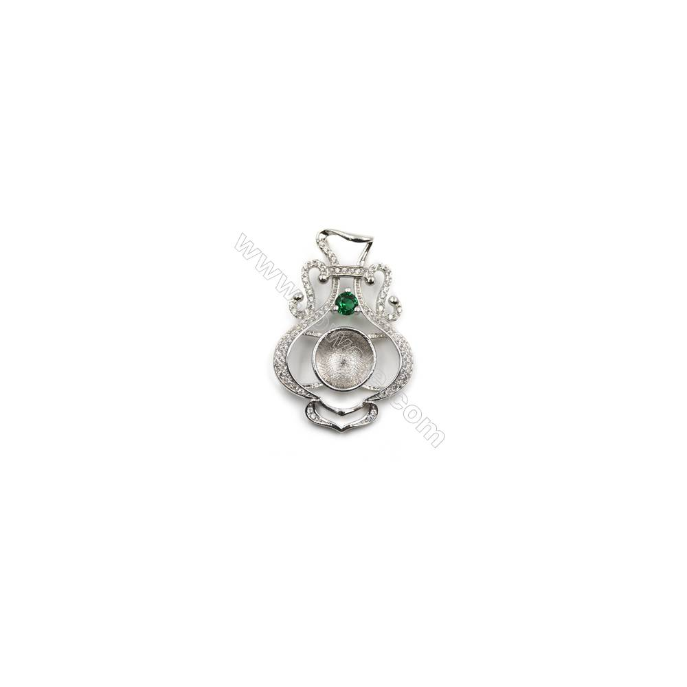 Sterling silver zircon pendant in platinum plated, 25x36mm, x 5pcs, Tray 11 mm