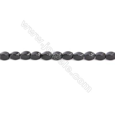 Natural Black Agate Beads Strand Twisted  Size 5x8mm  Hole: 1mm  about 48 beads/strand  15~16''