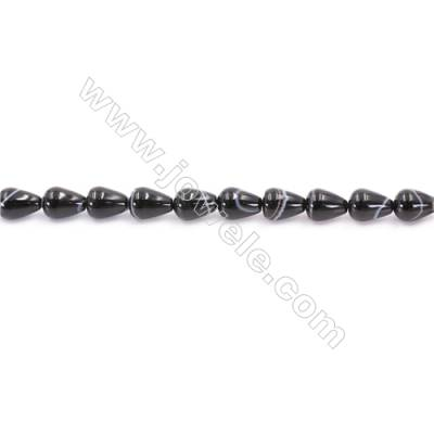 Striped Black Agate Beads Strand  Teardrop  Size 7X9mm  Hole: 1mm  about 43 beads/strand  15~16''