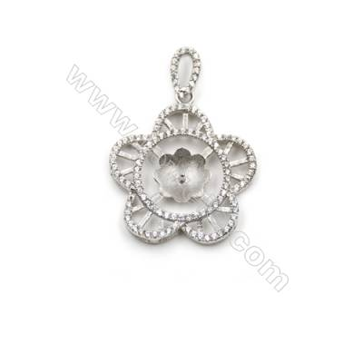 925 Sterling silver platinum plated zircon pendant, 23mm, x 5pcs, Tray 10mm