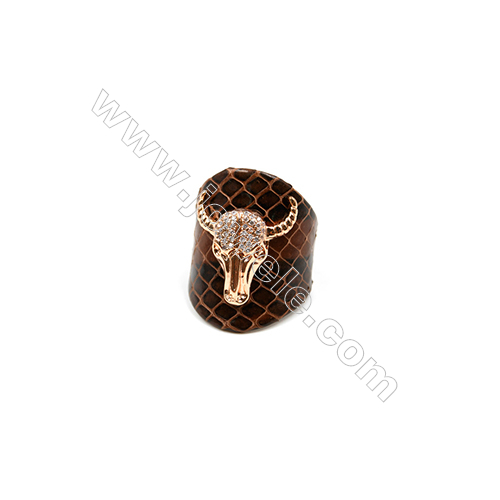 Snakeskin Rings(Adjustable), with Rose Gold Plated Brass Micro Pave Cubic Zirconia, Ox-head, Size 31mm, Inside Diameter 20mm
