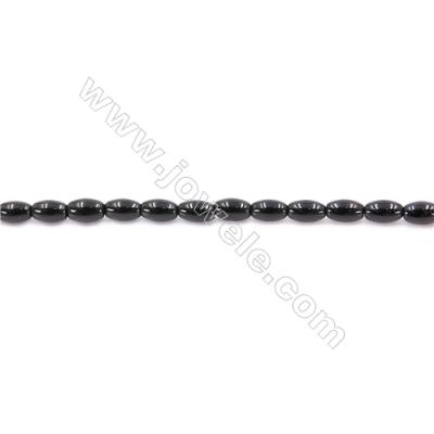 Natural Black Agate Beads Strand Horse Eye  Size 4x6mm  Hole: 1mm  about 59 beads/strand  15~16''