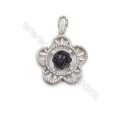 925 Sterling silver platinum plated zircon pendant necklace -D5477 23mm x 5 Disc Diameter 10mm