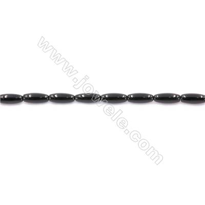 Natural Black Agate Beads Strand Horse Eye  Size 5x12mm  Hole: 1mm  about 33 beads/strand  15~16''
