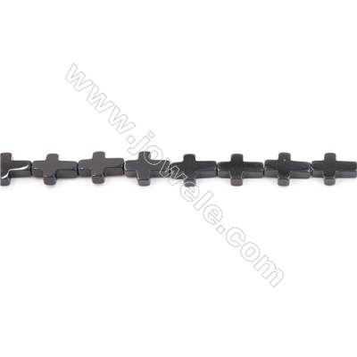 Natural Black Agate Beads Strand  Cross  Size 10x14mm  Hole: 1mm  about 28 beads/strand  15~16""