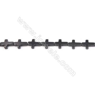 Natural Black Agate Beads Strand  Cross  Size 12x16mm  Hole: 1mm  about 25 beads/strand  15~16""