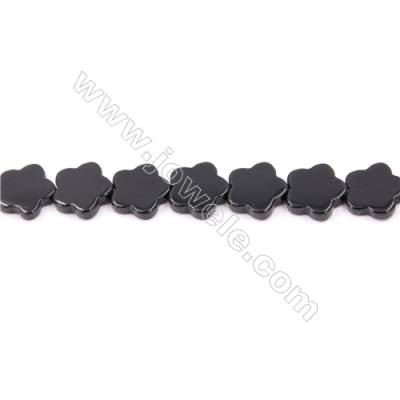 Natural Black Agate Beads Strand  Five-Leaf Flower  Size 14x14mm  Hole: 1mm  about 30 beads/strand  15~16""
