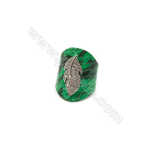 Snakeskin Rings(Adjustable), with Platinum Plated Brass Micro Pave Cubic Zirconia, Leaf, Size 31mm, Inside Diameter 20mm, x1pc