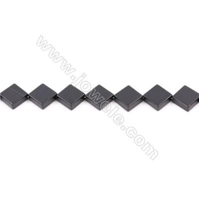 Natural Black Agate Beads Strand  Rhombus  Size 14x14mm  Hole: 1mm  about 30 beads/strand  15~16""