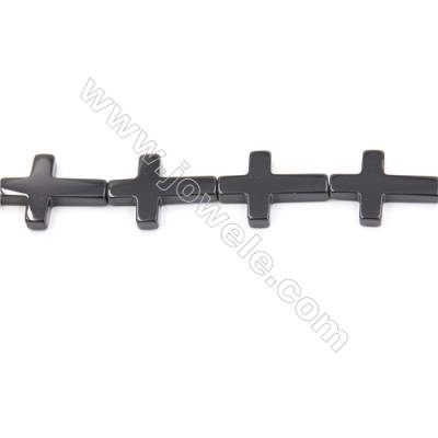 Natural Black Agate Beads Strand  Cross  Size 18x25mm  Hole: 1.5mm  about 16 beads/strand  15~16""