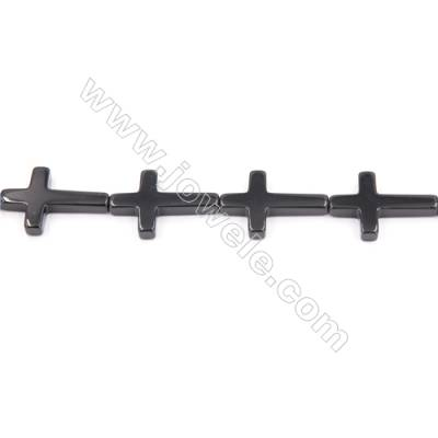 Natural Black Agate Beads Strand  Cross  Size 22x30mm  Hole: 1.5mm  about 13 beads/strand  15~16""