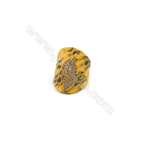 Snakeskin Rings(Adjustable), with Gold Plated Brass Micro Pave Cubic Zirconia, Leaf, Size 31mm, Inside Diameter 20mm, x1pc