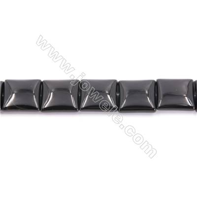 Natural Black Agate Beads Strand  Square  Size 20x20mm  Hole 1mm  about 20 beads/strand 15~16""