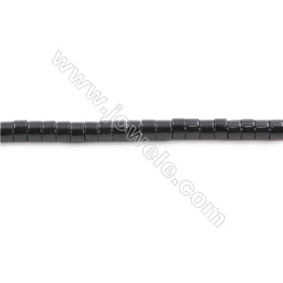 Natural Black Agate Beads Strand  Column  Size 2x4mm  Hole: 1mm  about 52 beads/strand  15~16""