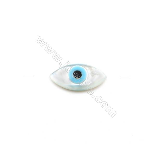 Nazar (blue eye) made of white mother-of-pearl, 4x8mm, hole 0.8mm, 30pcs/pack