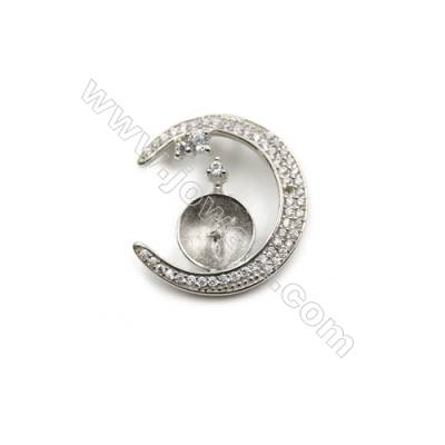 Platinum plated 925 sterling silver zircon pendants, 20mm, x 5pcs, Tray 9mm